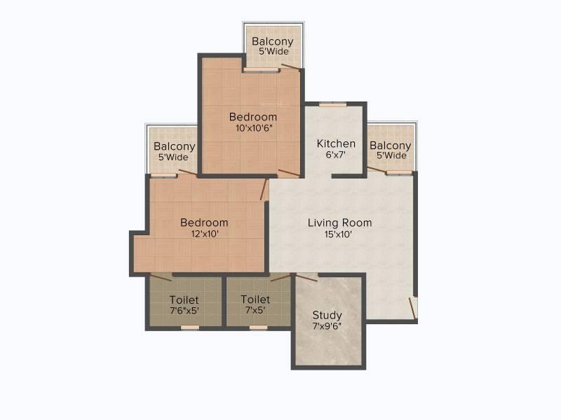 Amrapali Riverview (2BHK+2T (955 sq ft) + Study Room 955 sq ft)