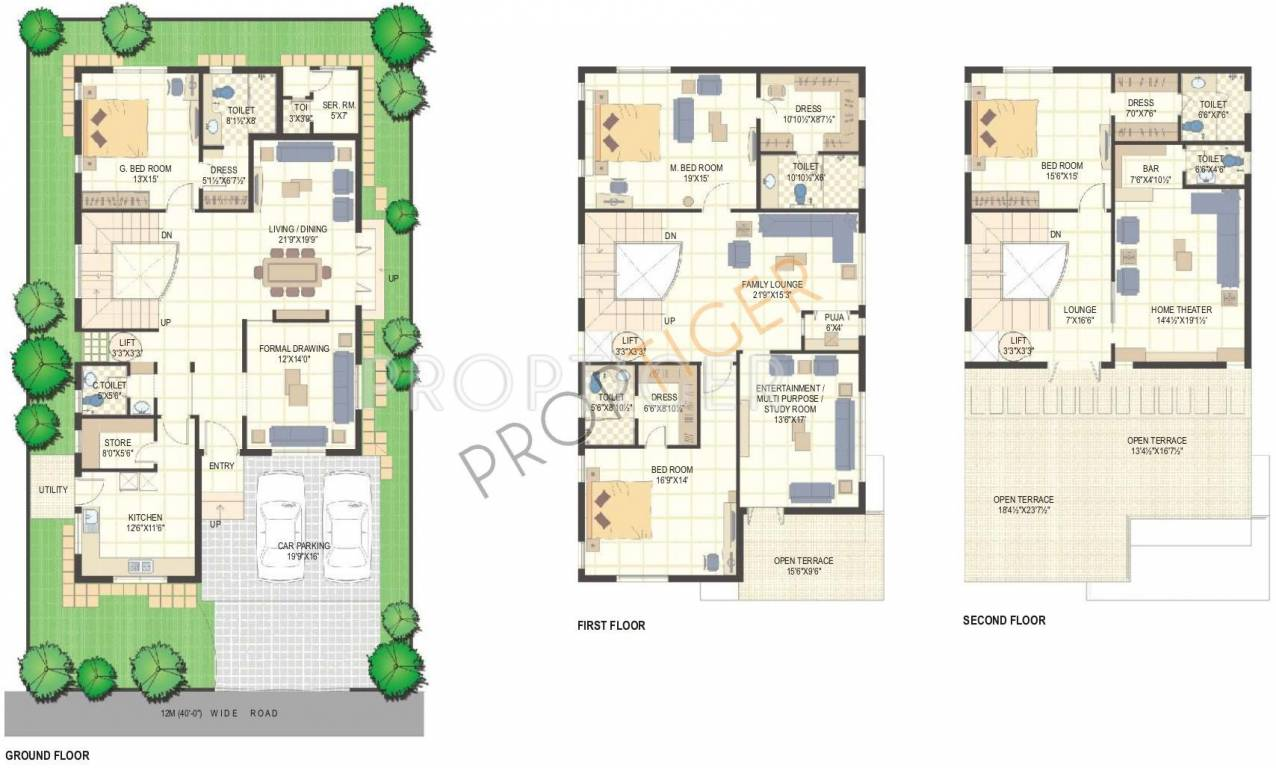 Luxury villa floor plans in india Indian villa floor plans