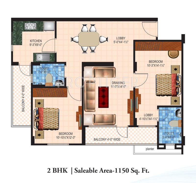 1150 Sq Ft 2 Bhk 2t Apartment For Sale In Anukampa Group