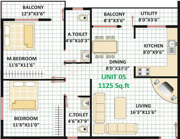 1125 sq ft 2 bhk 2t apartment for sale in mamtha for 1125 sq ft floor plan