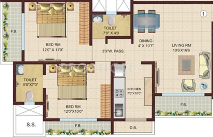 950 sq ft 2 bhk 2t apartment for sale in dv fressia nx for 950 sq ft