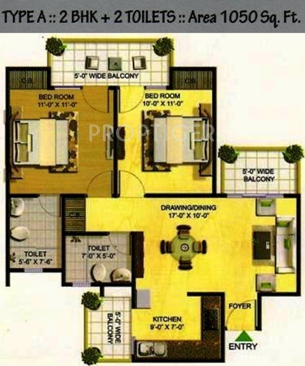 1050 sq ft 2 bhk 2t apartment for sale in yps developers for 1050 sq ft floor plans