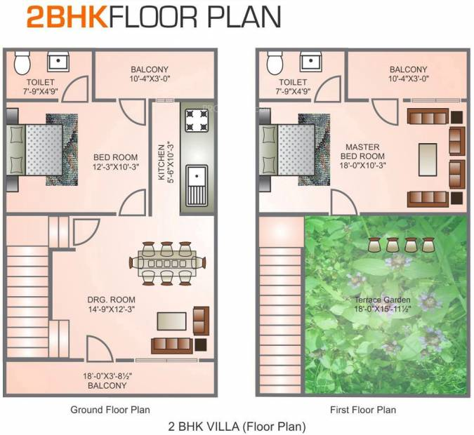Mehak Infrastructure Residency Villa Floor Plan (2BHK+2T (1,080 sq ft) 1080 sq ft)