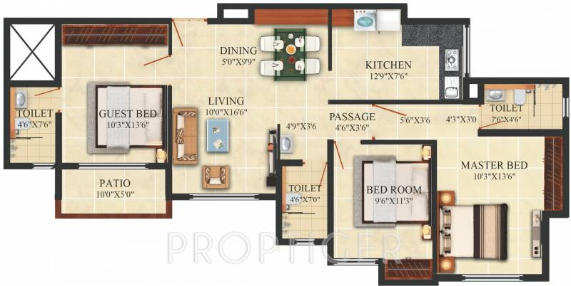 1400 sq ft 3 bhk floor plan image puranik hometown phase for 1400 sq ft floor plans
