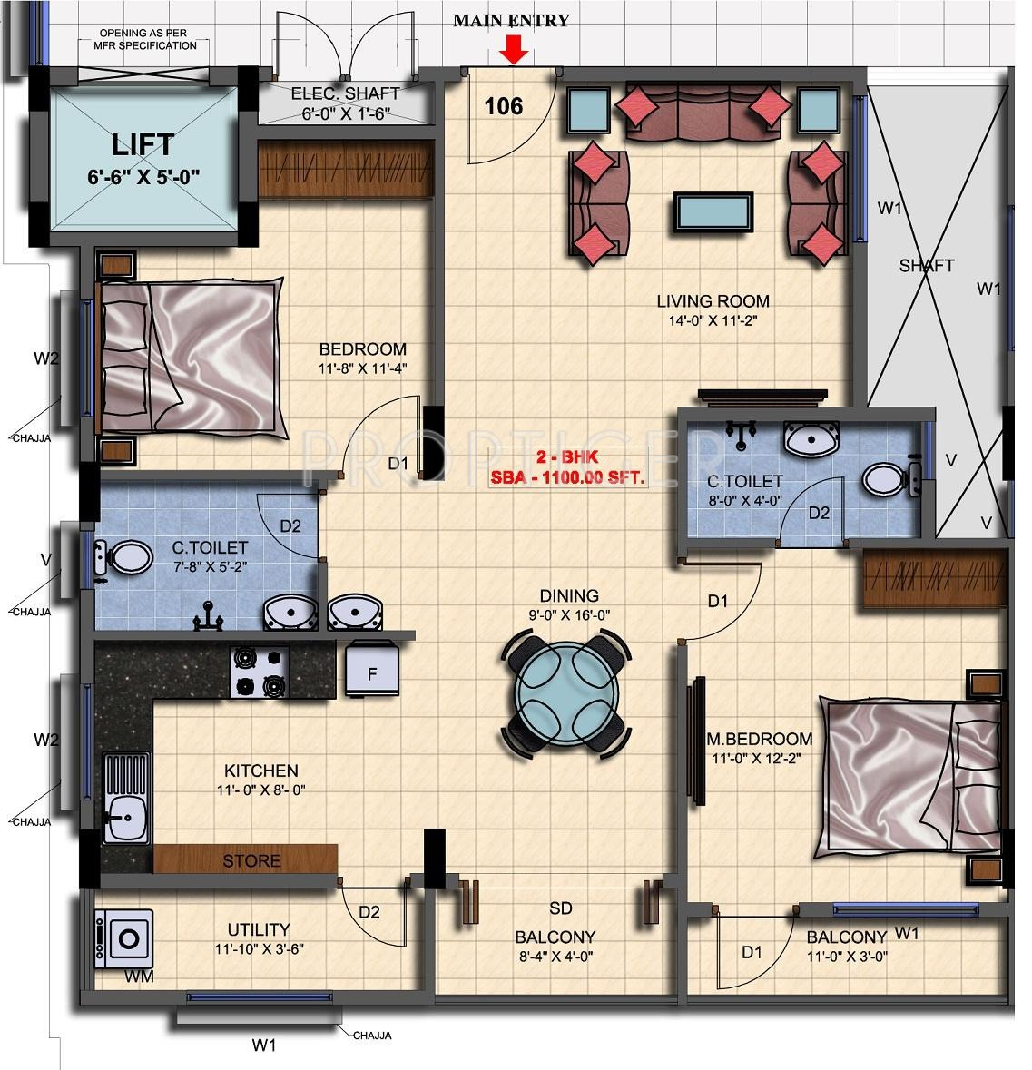 1100 sq ft 2 bhk 2t apartment for sale in mahaghar mithun for 1100 sq ft apartment floor plan