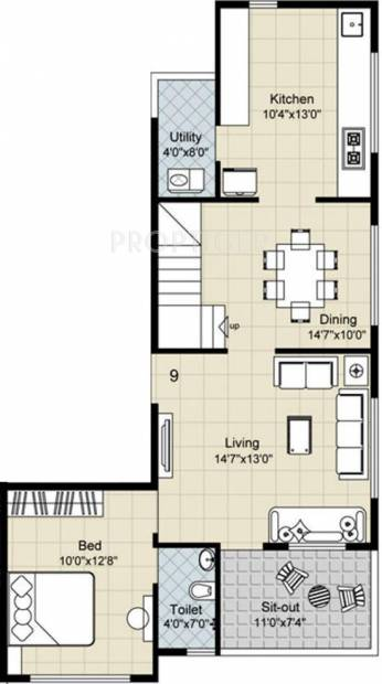 1200 sq ft 3 bhk floor plan image gajra associates for Apartment plans 1200 sq ft
