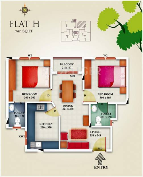 747 sq ft 2 BHK Floor Plan Image - Shwas Homes Shwas Guest House