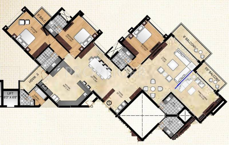 Tulive Ecstasea (3BHK+3T (3,642 sq ft)   Servant Room 3642 sq ft)