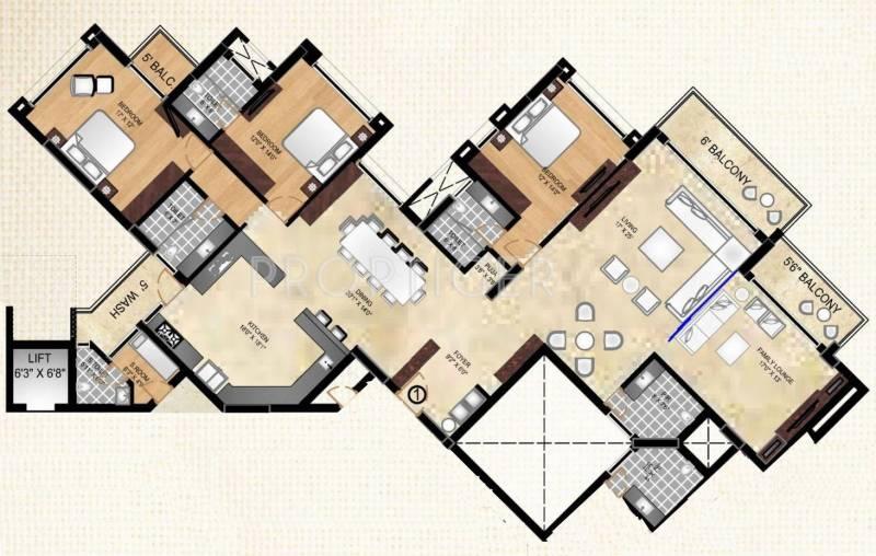 Tulive Ecstasea (3BHK+3T (3,642 sq ft)   Servant Room 3642 sq ft)