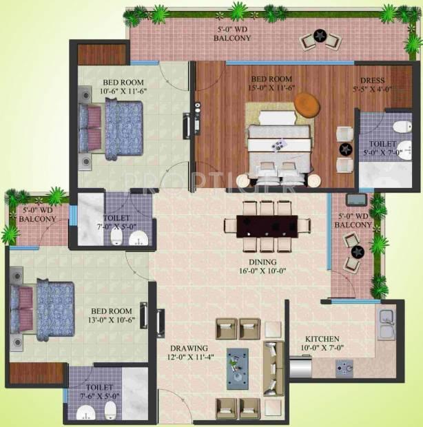 Supertech Eco Village 4 (3BHK+3T (1,660 sq ft) 1660 sq ft)