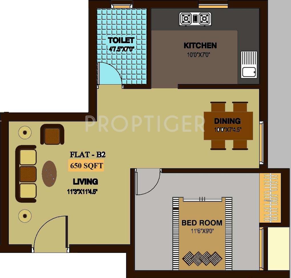 650 Sq Ft 1 Bhk 1t Apartment For Sale In Sreenivas Housing