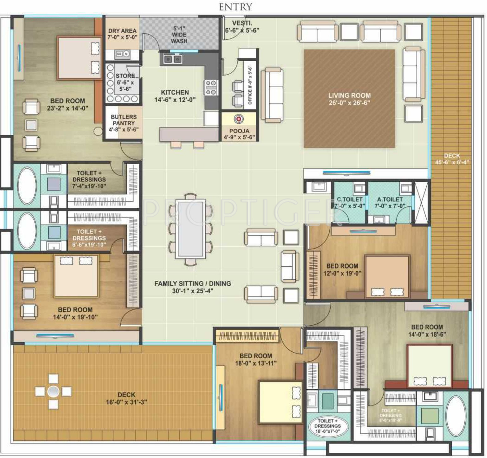 7000 Sq Ft House Plans India