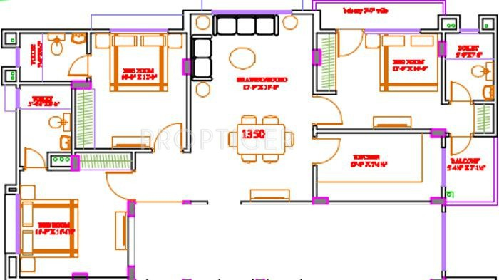 1350 sq ft 3 bhk floor plan image s r builders and