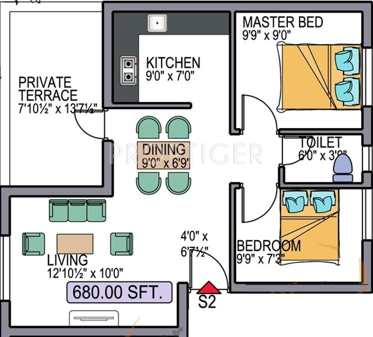 680 sq ft 2 bhk 1t apartment for sale in zion for 680 square feet house plan