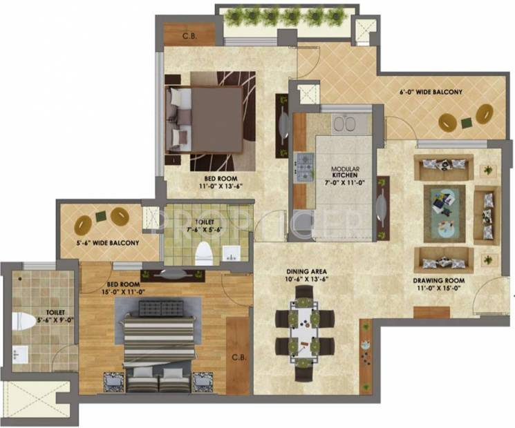 Heights (2BHK+2T (1,250 sq ft) 1250 sq ft)