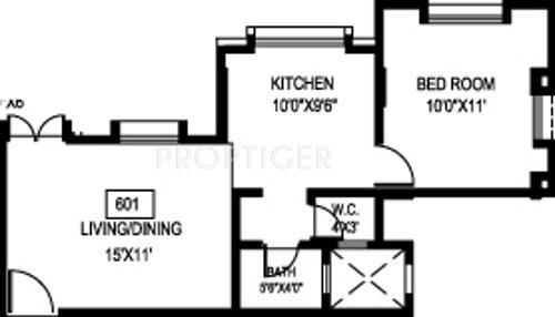 1 bhk 1t apartment for sale in bu bhandari ekta residency for Apartment plans bu