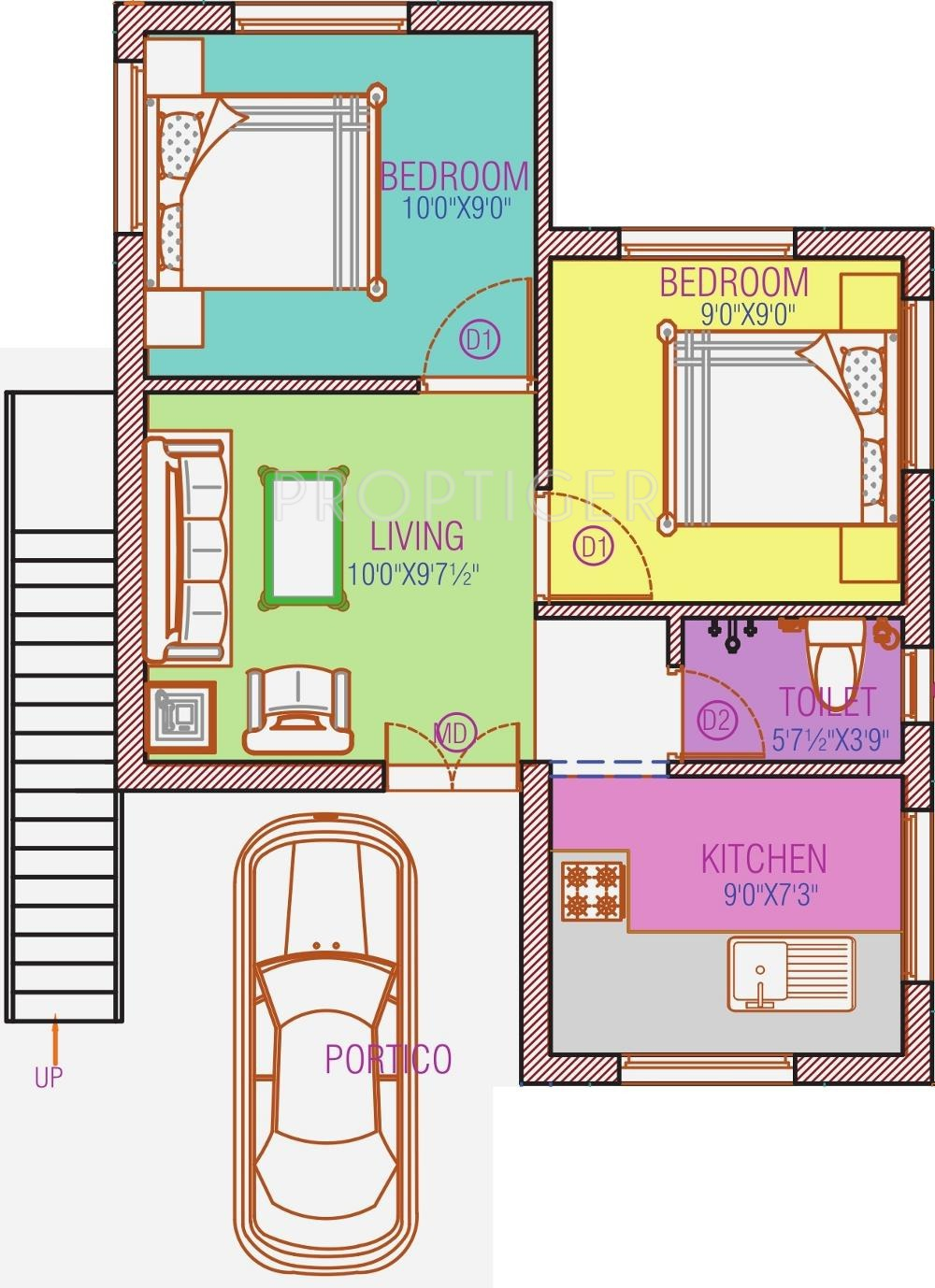 500 Sq Ft 2 Bhk 1t Villa For Sale In Avalon Properties