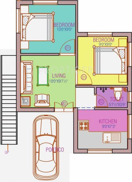 500 sq ft 2 bhk floor plan image avalon properties for House plan in 500 sq ft