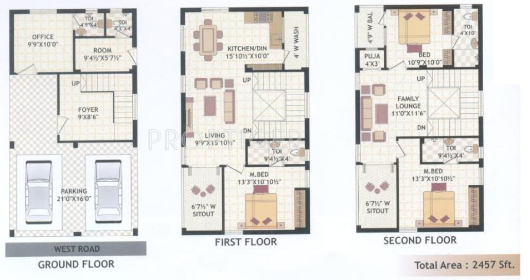 Srinivasa thiru sankalp in pragathi nagar kukatpally 3bhk house plan