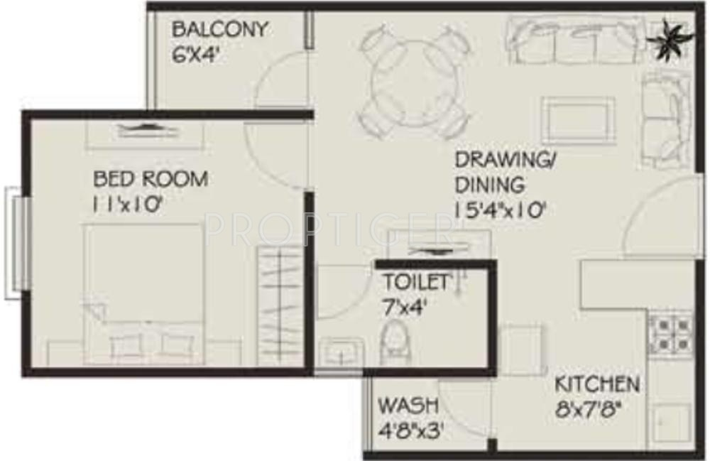 582 sq ft 1 bhk 1t apartment for sale in vastu developers for Apartment floor plans for sale