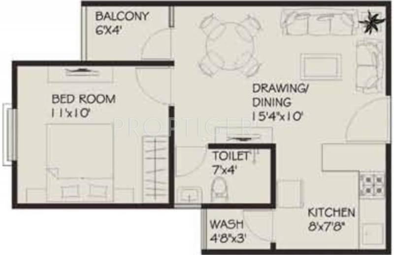 582 sq ft 1 bhk floor plan image vastu developers for 1 bhk room design