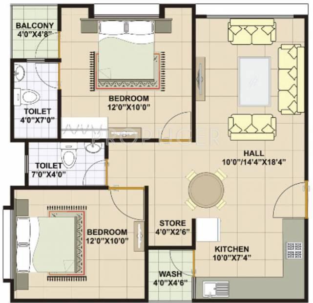916 sq ft 2 BHK Floor Plan Image - Vastu Developers Platinum ...