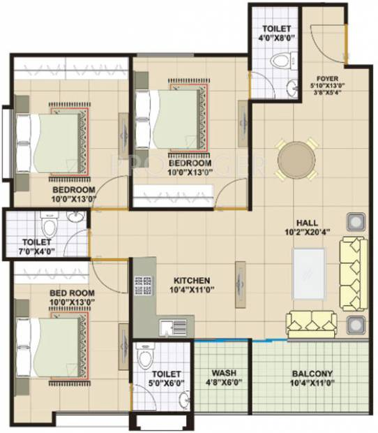 1395 sq ft 3 bhk floor plan image vastu developers for Apartment plans as per vastu
