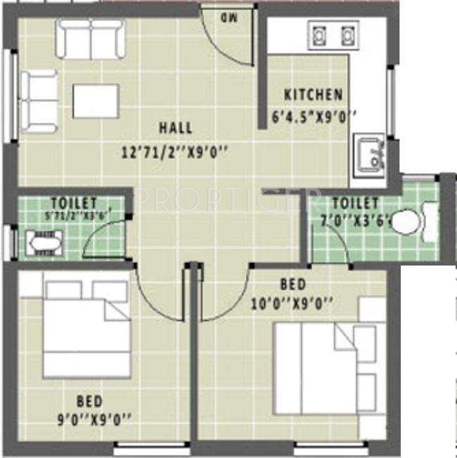 600 sq ft 2 BHK Floor Plan Image Annai Aathika Available Rs