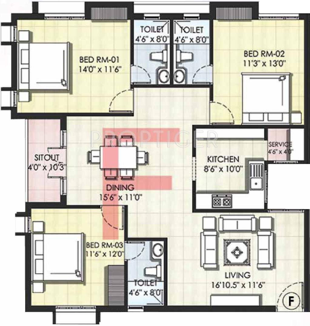 1591 sq ft 3 bhk 3t apartment for sale in kgeyes residency for X2 residency floor plan