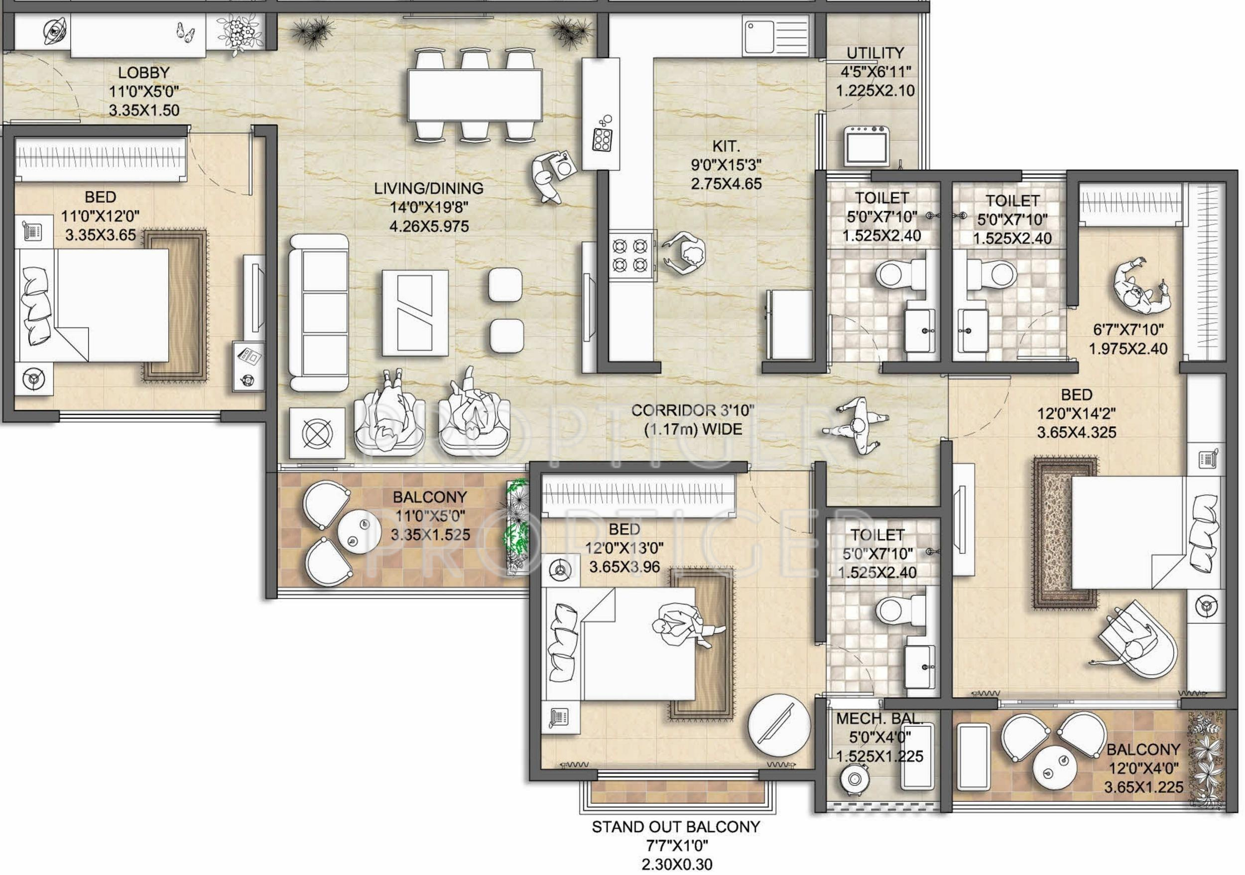 1738 sq ft 3 bhk 3t apartment for sale in nitesh melbourne for Apartment plans melbourne