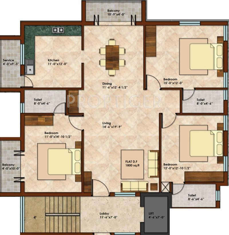 1800 Sq Ft 3 Bhk 3t Apartment For Sale In Kcee Properties