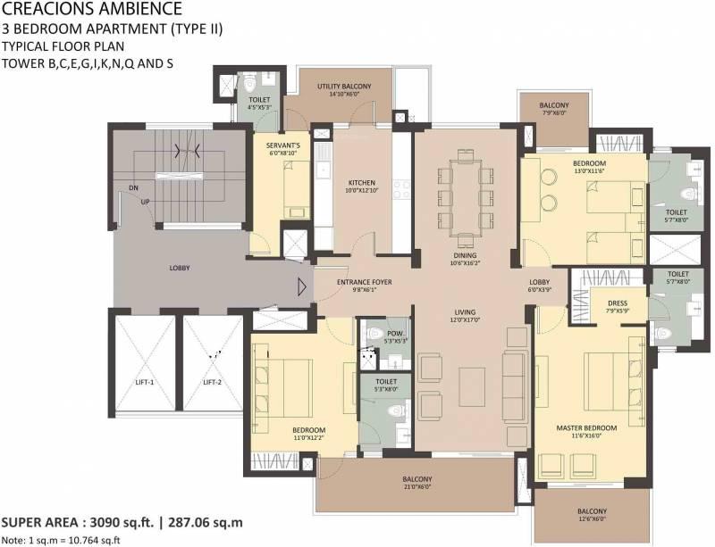 Ambience Creacions (3BHK+4T (3,090 sq ft) + Servant Room 3090 sq ft)