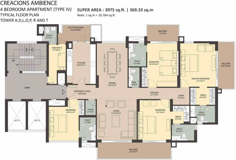 Ambience Creacions (4BHK+5T (3,975 sq ft) + Servant Room 3975 sq ft)