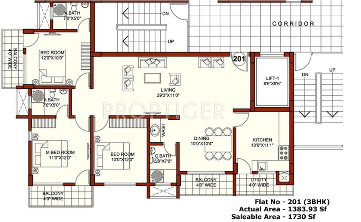1730 Sq Ft 3 Bhk 3t Apartment For Sale In Rohan