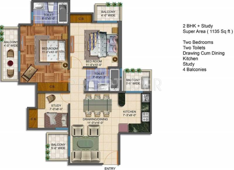 Royal Estate Fragrance Homes (2BHK+2T (1,135 sq ft)   Study Room 1135 sq ft)