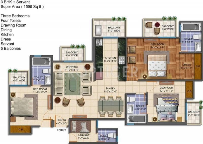 Royal Estate Fragrance Homes (3BHK+4T (1,595 sq ft)   Servant Room 1595 sq ft)