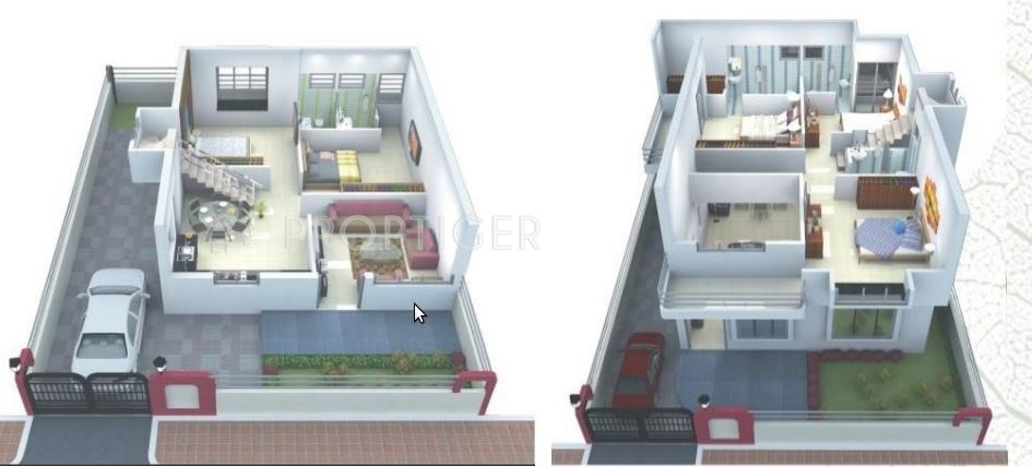2300 Sq Ft 4 Bhk 4t Villa For Sale In Gangwani: twin bungalow plans