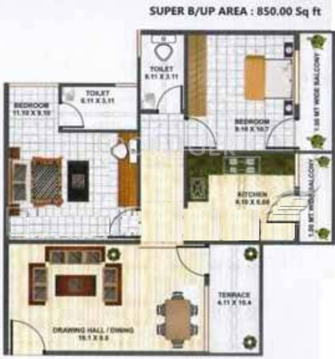 850 sq ft 2 bhk 2t apartment for sale in om sai buildcon for Sq 850
