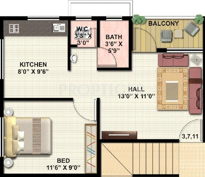 320 Sq Ft 1 Bhk Floor Plan Image Subhadra Estates Royale