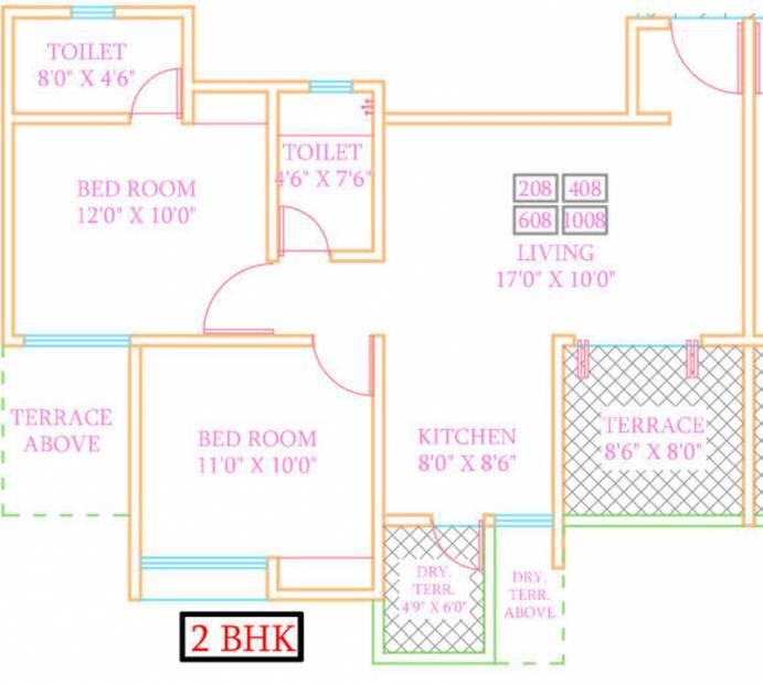 ARV Royale (2BHK+2T (1,215 sq ft) 1215 sq ft)