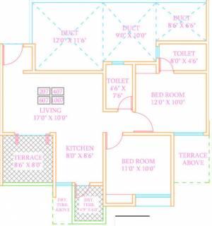 1170 Sq Ft 2 Bhk Floor Plan Image Arv Group Royale Available For Sale Proptiger Com