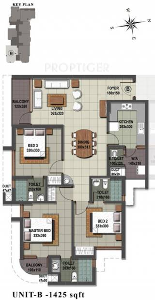 Sreerosh Midtown (3BHK+3T (1,425 sq ft) 1425 sq ft)