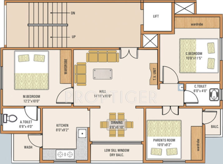 1000 Sq Ft 3 Bhk Floor Plan Image Samruddhi Habitats