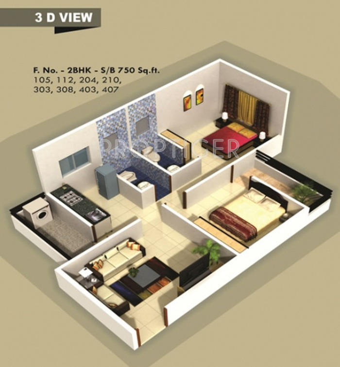 Sq Ft Sq Ft Bhk Floor Plan Image Ashoka Vrindavan - 750 sq ft house floor plans