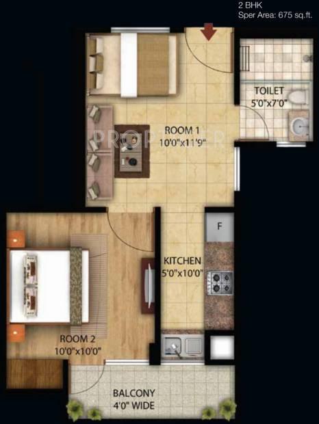 Omson Star Residency (2BHK+1T (675 sq ft) 675 sq ft)