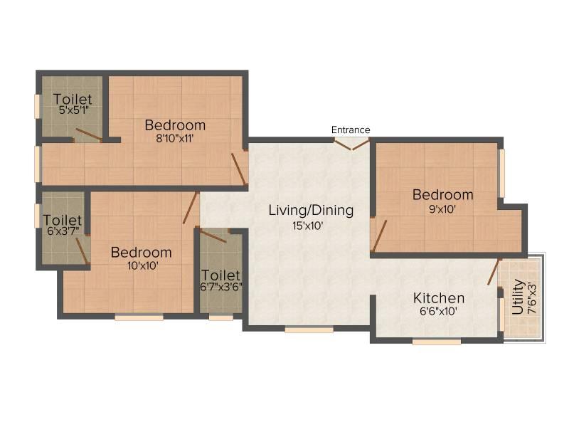 KJ Castle Homes (3BHK+3T (924 sq ft) 924 sq ft)