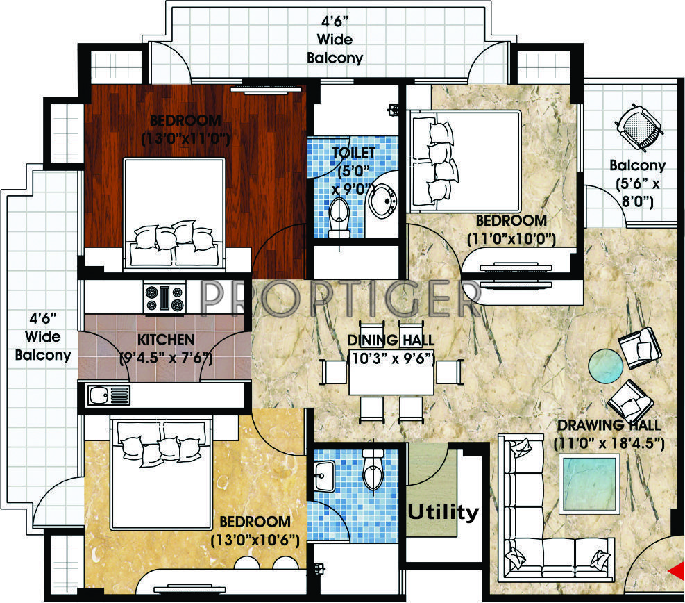 1500 sq ft 3 bhk 2t apartment for sale in sangam real for 1500 sq ft apartment floor plan