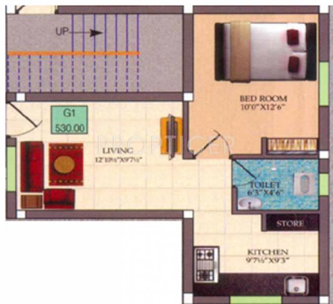 Infraz Edenz (1BHK+1T (530 sq ft) 530 sq ft)