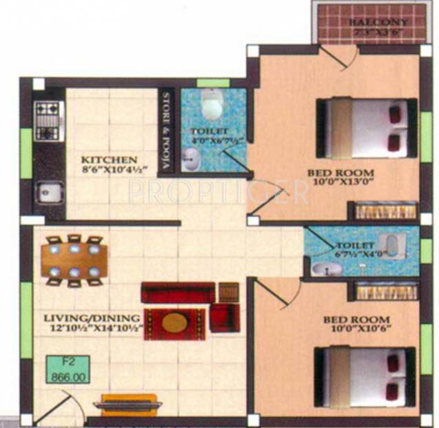 Infraz Edenz (2BHK+2T (826 sq ft) 826 sq ft)
