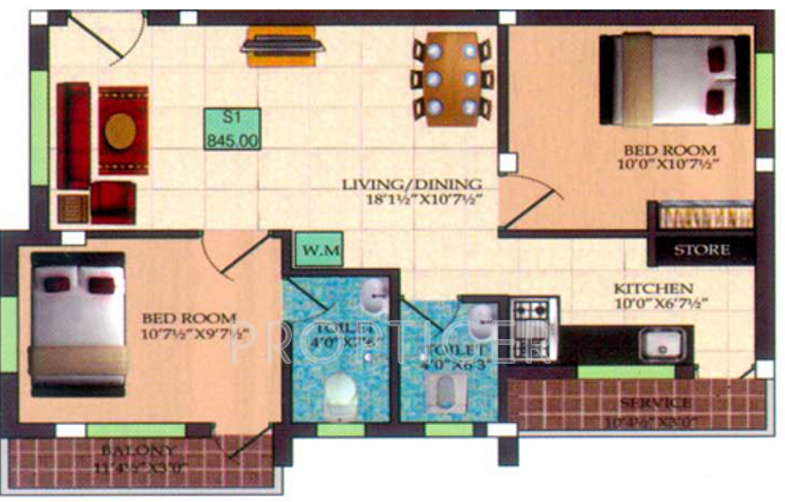 Infraz Edenz (2BHK+2T (845 sq ft) 845 sq ft)